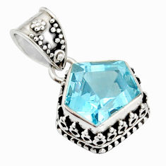 5.97cts natural blue topaz fancy 925 sterling silver pendant jewelry r20696