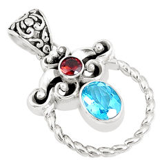 3.01cts natural blue topaz garnet 925 sterling silver pendant jewelry c22782