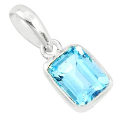 1.90cts natural blue topaz octagan 925 sterling silver pendant jewelry r70557