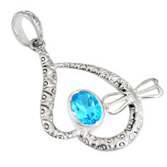 2.58cts natural blue topaz oval 925 sterling silver pendant jewelry c22785