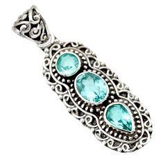 Clearance Sale- 5.01cts natural blue topaz oval 925 sterling silver pendant jewelry d44821