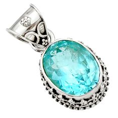 9.62cts natural blue topaz oval 925 sterling silver pendant jewelry d45201