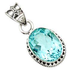 10.89cts natural blue topaz oval 925 sterling silver pendant jewelry d45205