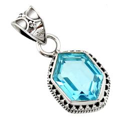 10.37cts natural blue topaz oval 925 sterling silver pendant jewelry d45206