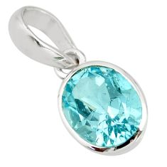 3.28cts natural blue topaz oval 925 sterling silver pendant jewelry r27405