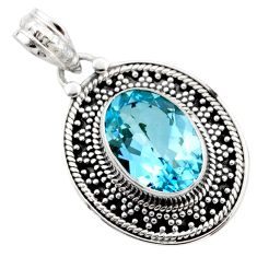 6.58cts natural blue topaz oval 925 sterling silver pendant jewelry r53162
