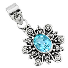 1.96cts natural blue topaz oval 925 sterling silver pendant jewelry r57785