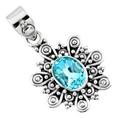 2.12cts natural blue topaz oval 925 sterling silver pendant jewelry r57786
