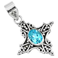 2.42cts natural blue topaz oval 925 sterling silver pendant jewelry r57788