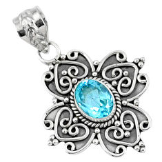 2.17cts natural blue topaz oval 925 sterling silver pendant jewelry r57821