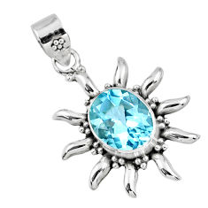 5.15cts natural blue topaz oval 925 sterling silver pendant jewelry r57850