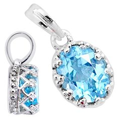 2.05cts natural blue topaz oval 925 silver handmade pendant jewelry t16763