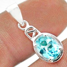 2.09cts natural blue topaz oval 925 sterling silver pendant jewelry t51418