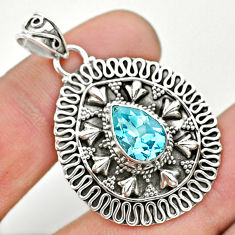 2.41cts natural blue topaz pear 925 sterling silver pendant jewelry t32562