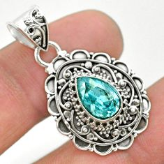 2.41cts natural blue topaz pear 925 sterling silver pendant jewelry t32612