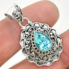 2.39cts natural blue topaz pear 925 sterling silver pendant jewelry t32613