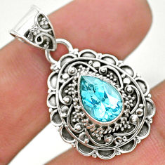 2.30cts natural blue topaz pear 925 sterling silver pendant jewelry t32620