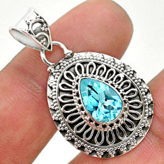 2.42cts natural blue topaz pear 925 sterling silver pendant jewelry t32634
