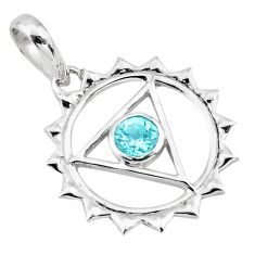 Clearance Sale- 0.98cts natural blue topaz round 925 sterling silver pendant jewelry d45621