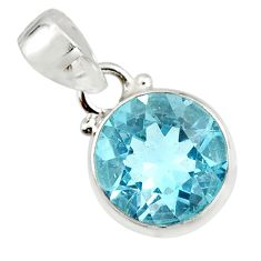 7.12cts natural blue topaz round 925 sterling silver pendant jewelry r20677