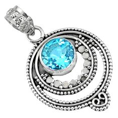 3.50cts natural blue topaz round 925 sterling silver pendant jewelry r57741