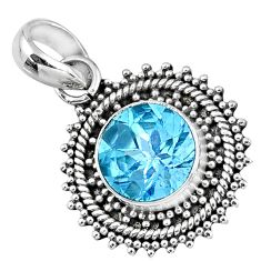 4.43cts natural blue topaz round 925 sterling silver pendant jewelry r57742