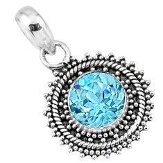 4.43cts natural blue topaz round 925 sterling silver pendant jewelry r57743
