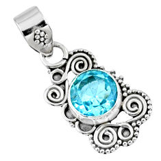 3.03cts natural blue topaz round 925 sterling silver pendant jewelry r57781