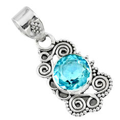 2.98cts natural blue topaz round 925 sterling silver pendant jewelry r57782