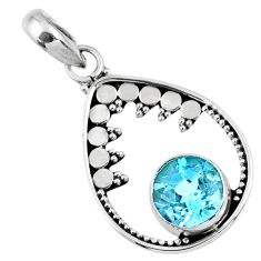3.00cts natural blue topaz round 925 sterling silver pendant jewelry r57783