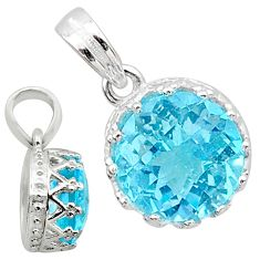 5.49cts natural blue topaz round 925 silver pendant jewelry t16735