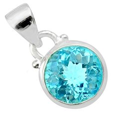 4.28cts natural blue topaz round 925 sterling silver pendant jewelry t57158