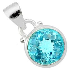4.58cts natural blue topaz round 925 sterling silver pendant jewelry t57160
