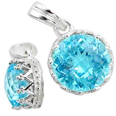 4.33cts natural blue topaz round shape 925 sterling silver pendant t12178