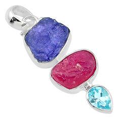 14.14cts natural blue topaz tanzanite ruby raw 925 silver pendant t10802