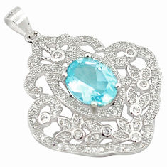 8.54cts natural blue topaz topaz 925 sterling silver pendant jewelry c18124