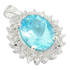 7.89cts natural blue topaz topaz 925 sterling silver pendant jewelry c18130