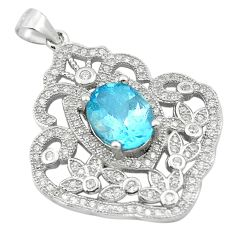 6.83cts natural blue topaz topaz 925 sterling silver pendant jewelry c18139