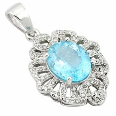 6.43cts natural blue topaz topaz 925 sterling silver pendant jewelry c18121