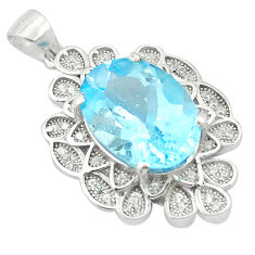 7.36cts natural blue topaz topaz 925 sterling silver pendant jewelry c18129