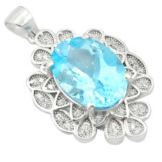 7.32cts natural blue topaz topaz 925 sterling silver pendant jewelry c18123