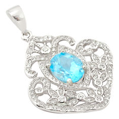 7.22cts natural blue topaz topaz 925 sterling silver pendant jewelry c18133