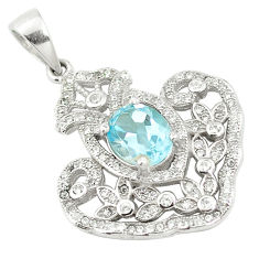 Natural blue topaz topaz 925 sterling silver pendant jewelry c18126