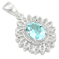 Natural blue topaz topaz 925 sterling silver pendant jewelry c18189