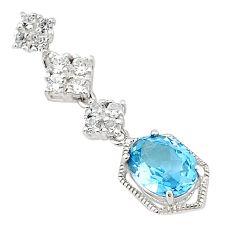 Natural blue topaz white topaz 925 sterling silver pendant jewelry c18217