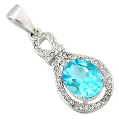 5.22cts natural blue topaz white topaz 925 sterling silver pendant jewelry c9992