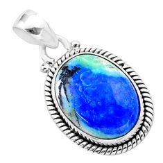 12.85cts natural blue turquoise azurite 925 sterling silver pendant t37462