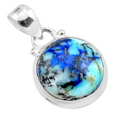 11.04cts natural blue turquoise azurite 925 sterling silver pendant t37482