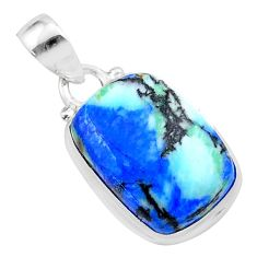 12.83cts natural blue turquoise azurite 925 sterling silver pendant t37513
