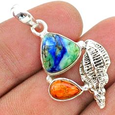 7.17cts natural blue turquoise azurite coral 925 silver seashell pendant t38385